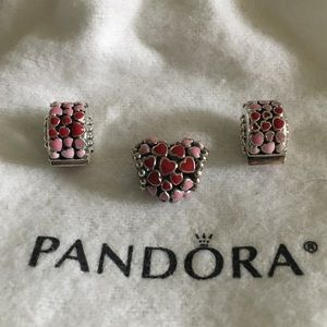 PANDORA 👑 heart charms.  2 spacers and 1 charm